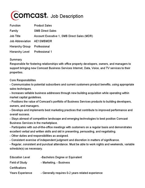 Direct Sales Executive Sle Resume Comcast Has Opening For Account Executive 1 Smb Direct Sales Career News From The