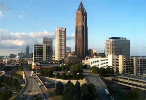 in atlanta sunset and in downtown atlanta points south