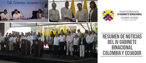 gabinete binacional resumen de noticias del iv gabinete binacional colombia y