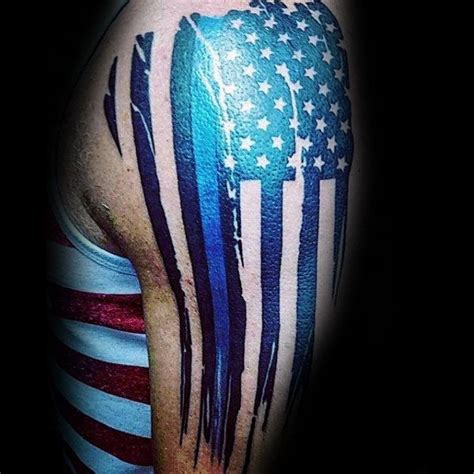 police tattoo designs men american flag with thin blue line guys manly arm tattoos