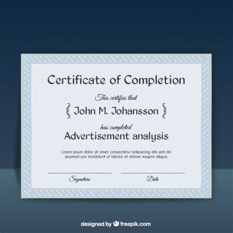 certificate of ojt completion template certificate of completion template vector free