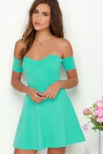 cute off the shoulder dress mint green dress skater