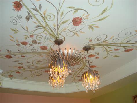 Wallpaper Ideas For Bathrooms floral vine bedroom ceiling mural traditional bedroom