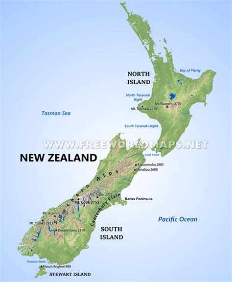 physical map of australia and new zealand new zealand physical map