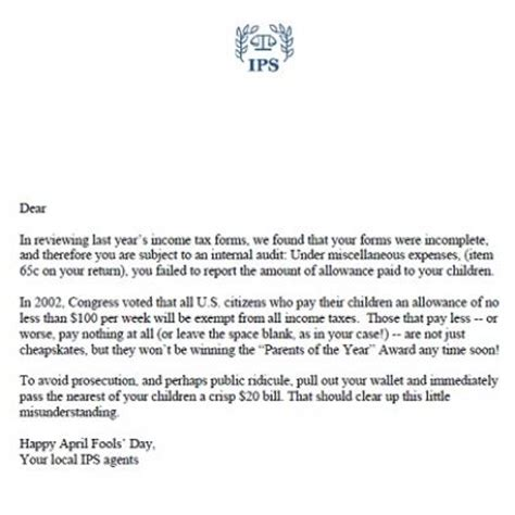 printable joke letters april fools prank phony tax letter for parents april
