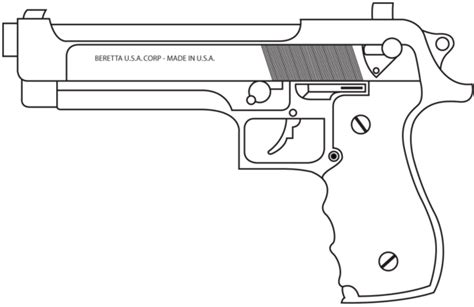 9mm Drawing 9mm beretta lined by madbird valiant on deviantart