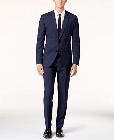 Macys Background Check Hugo Blue Tonal Check Slim Fit Suit Suits Suit Separates Macy S