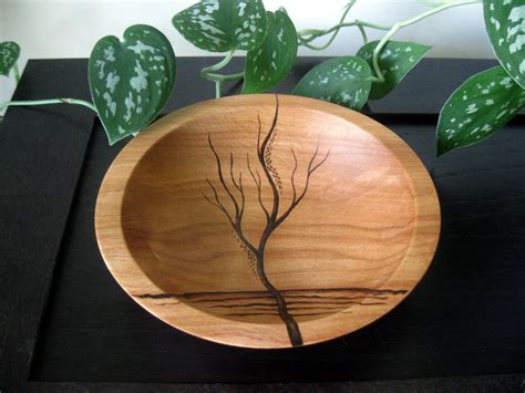 bowl designs wooden bowl rising tree pyrography design modern by kdgart
