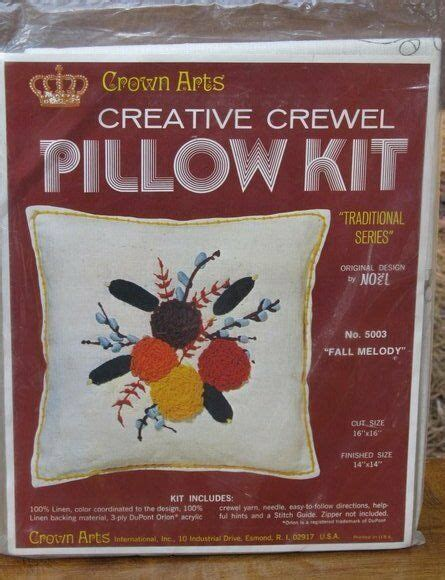 crewel pillow kits new crown arts fall melody crewel embroidery pillow kit