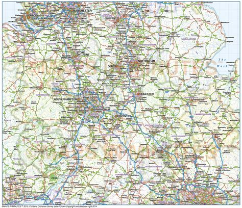 map of central uk central county road and rail map 1 000 000 scale