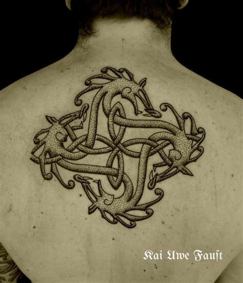 danish tattoo designs four dragons make an orborous celtic knot in this