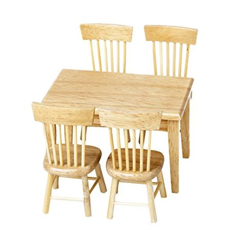 wooden designer doll set lowpricenice 5pcs wooden dining table chair model set 1 12