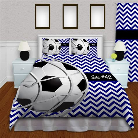 New Boys White Blue Soccer Nine Comforter Bedding Set Ebay Black White And Blue Soccer Bedding For And 143 Eloquent Innovations
