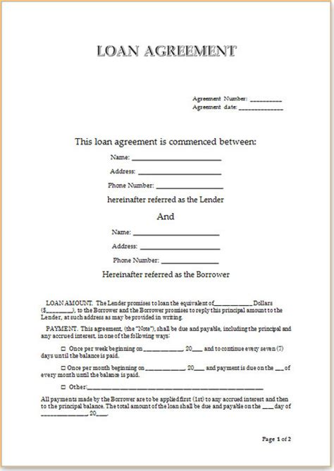 personal loan agreement template free loan agreement template