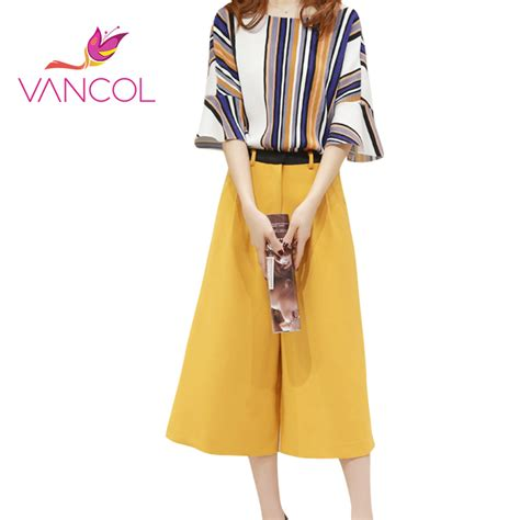 Blouse Murah High Quality vancol 2016 blouse and set high quality summer casual office suit yellow sleeve