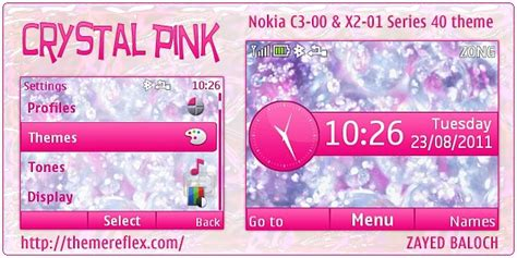free nokia c3 pink themes crystal pink theme for nokia c3 x2 01 themereflex