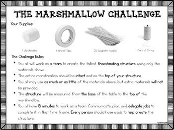 marshmallow challenge instructions the marshmallow challenge activity by laugh eat learn tpt