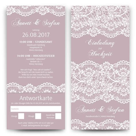 Hochzeitskarten Mit Spitze by Hochzeitseinladungen Mit Antwortkarte Spitze In Lila