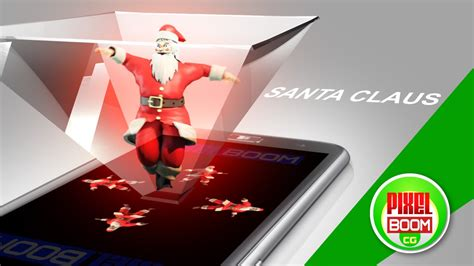 holographic santa claus santa claus screen up pyramid hologram technology pixelboomcg