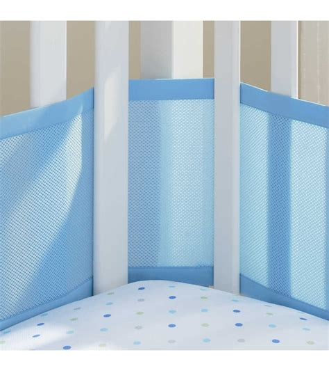 Breathable Baby Mesh Crib Liner by Breathable Baby Mesh Crib Liner Blue Mist