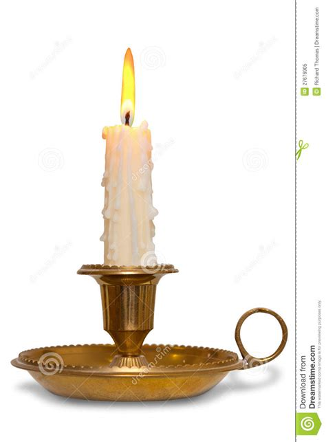 kerzenhalter taufkerze candle in brass holder stock image image of handheld