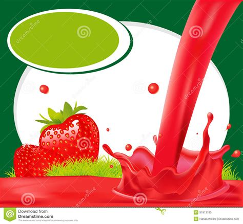 juice design background red splash of strawberry juice in green frame vector