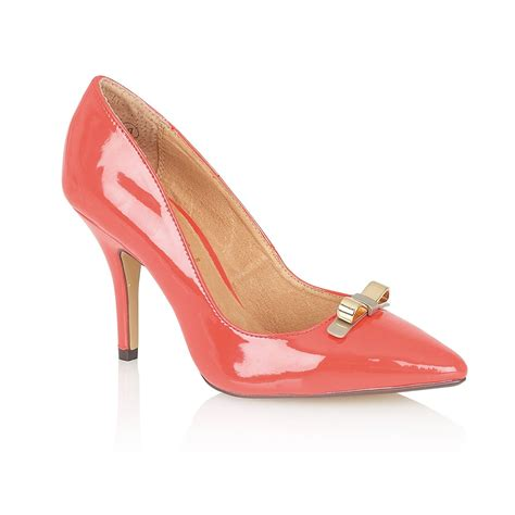 coral shoes ravel lesley pointed toe court shoes coral patent ravel