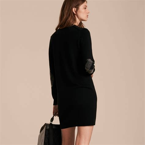 37 3 Black Sweater Limited check detail merino wool sweater dress black burberry