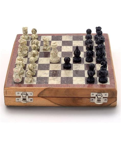 wooden chess set marble pieces from india 20 32 cm amazon little india real makrana marble chess board handicraft