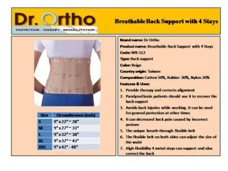 Dr Ortho Wb 527 11 Breathable Back Support With 6 St Berkualitas korset happy healthy shop