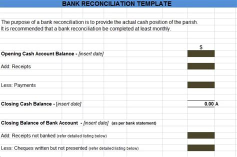 excel bank statement template bank reconciliation statement excel format