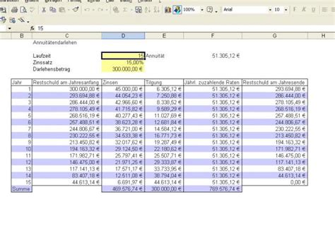 bank zinsen berechnen kostenloses excel tool kreditrechner berechnung