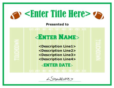 free football certificate templates football certificate template