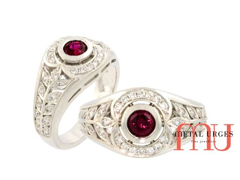 deco rings australia deco ruby and white ring in 18ct white gold custom made in australia rubies