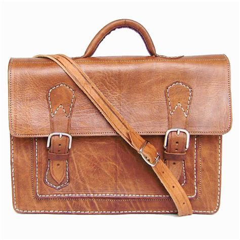 Handmade Leather Briefcase - handmade leather briefcase stitched messenger bag ebay