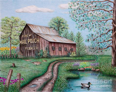 Italian House Plans mail pouch tobacco barn drawing by lena auxier