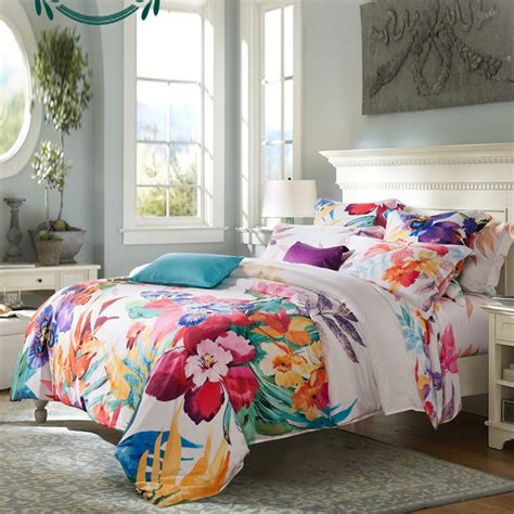 Teal Teen Bedrooms - girls carmine red yellow teal and beige tropical colorful hibiscus floral hawaiian style rustic