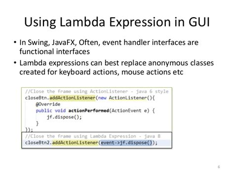 event handling in java swing exles java se 8 new features