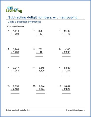 Grade 3 Math Worksheet: Subtract 4 digit numbers, with regrouping   K5 Learning