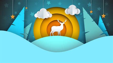 deer illustration cartoon winter landscape   vector art stock graphics images
