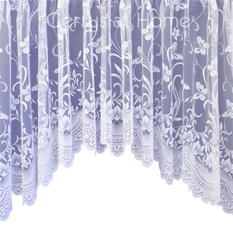 butterfly lace curtains spring white net curtain butterfly floral lace jardiniere