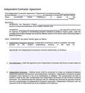Independent Contractor Agreement Free Template sample independent contractor agreement 12 documents in