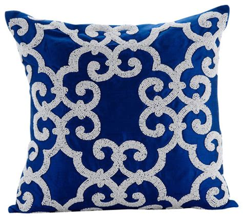 Seat Cushions Dining Room Chairs by Arabic Pattern Blue Accent Pillows Art Silk 16x16 Pillow