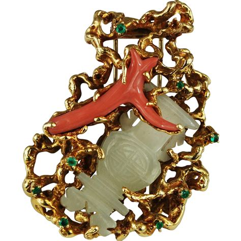 18k gold abstract brooch arthur king jewelry freeform jade