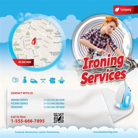 ironing and laundry services offer bifold brochure by