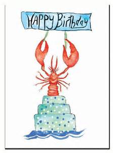 lobster birthday card red lobster watercolor lobster single