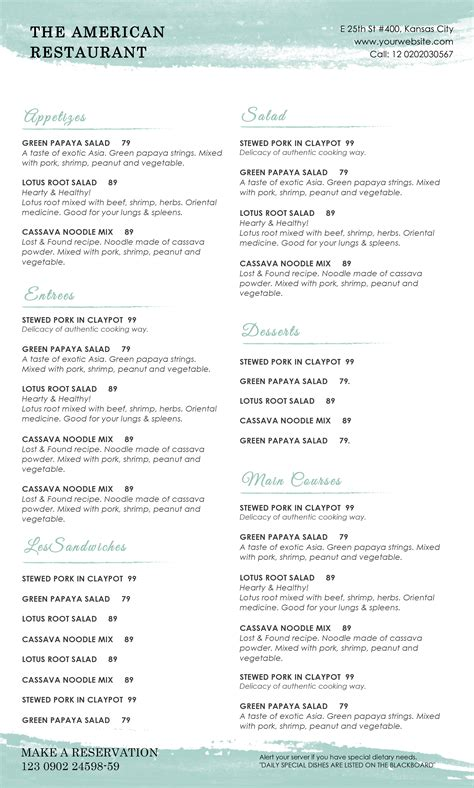 menu template pages restaurant menu template for mac pages cover letter