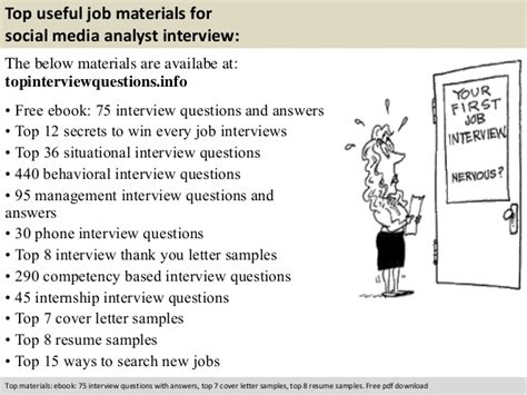 Social Media Analyst Cover Letter by Social Media Analyst Questions