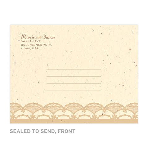 rustic send and seal wedding invitations rustic lace seal and send invitation seal and send