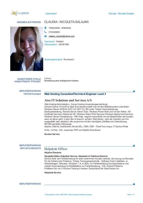 Lebenslauf Vorlage Deutschland Claudia Salajan Lebenslauf 2015